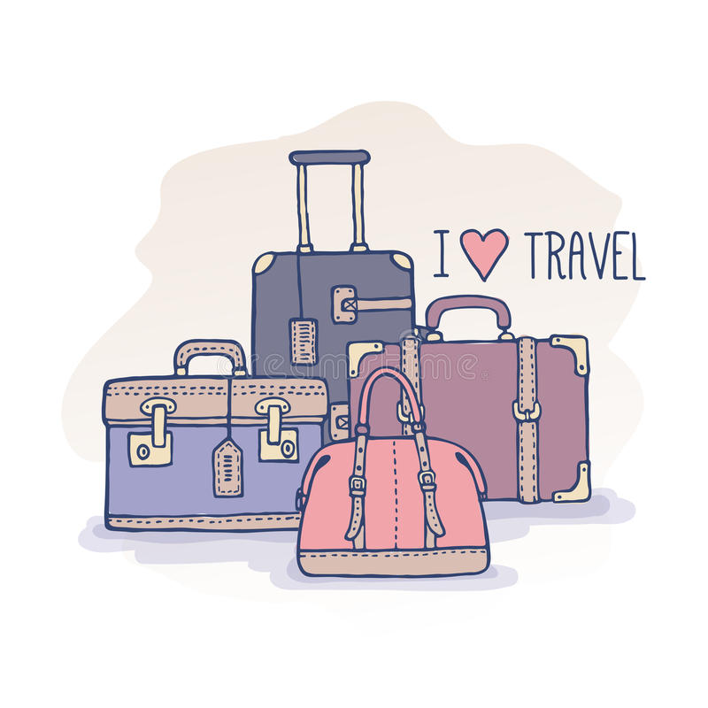 Set of old vintage bags and suitcases for travel vector illustration