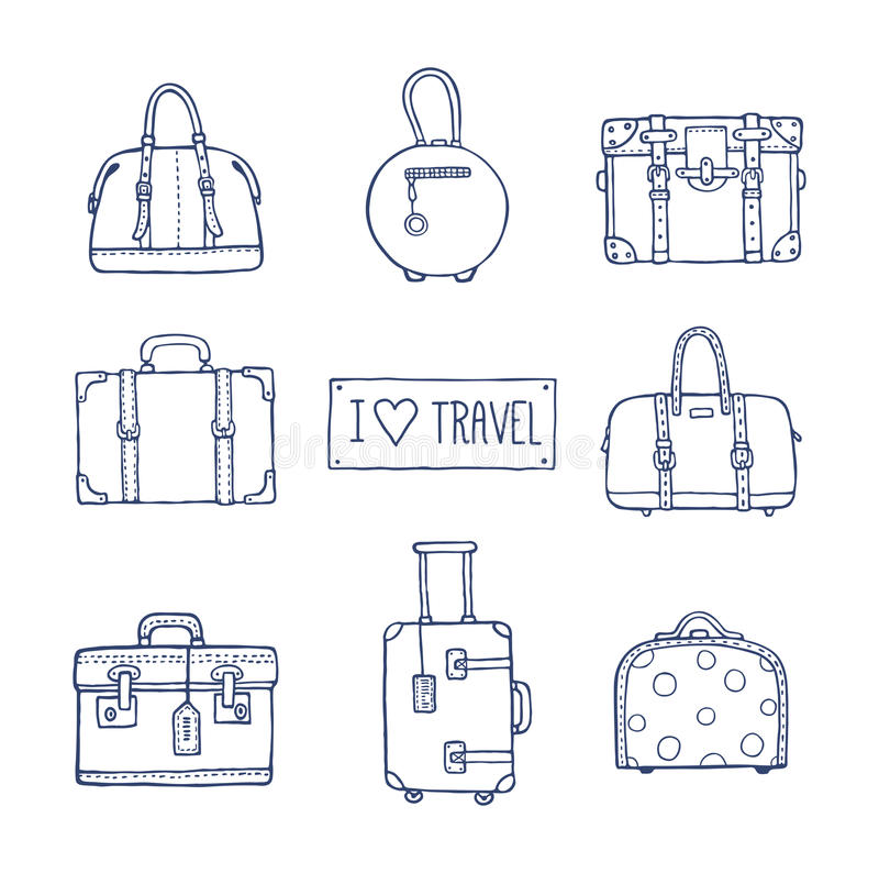 Set of old vintage bags and suitcases for travel stock illustration