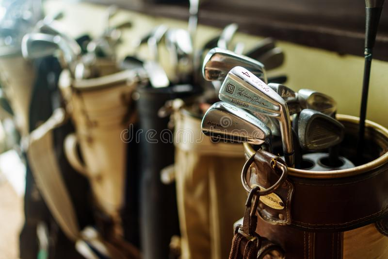 Set of old vintage golf clubs in bag stock image