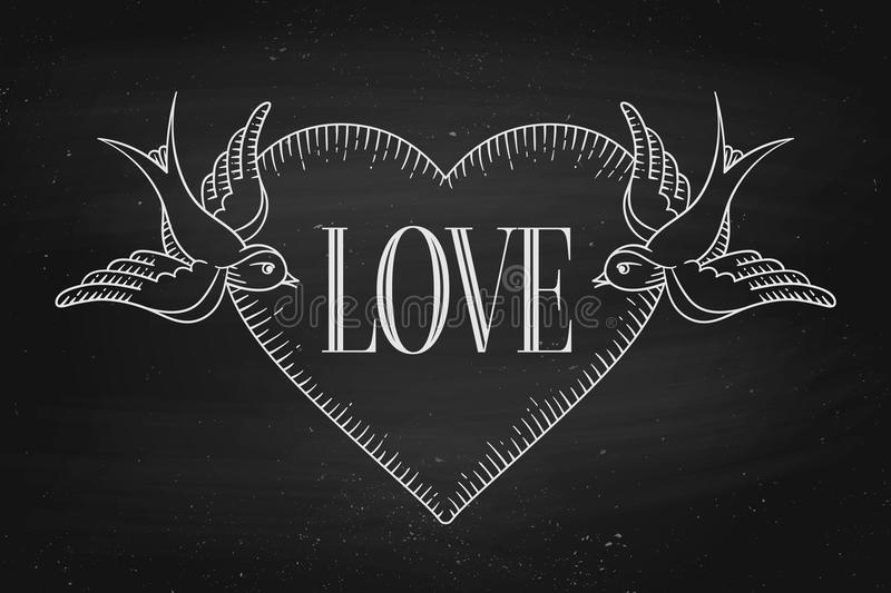 Set of old vintage ribbon banner with word Love, heart and tattoo bird stock illustration