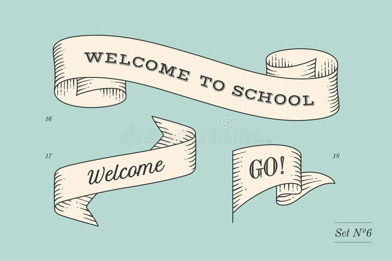Set of old vintage ribbon banners and drawing in engraving style. With inscription Welcome to school, Go and Welcome. Hand drawn design element. Vector royalty free illustration
