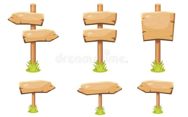 Set of old wooden blank cartoon sign boards royalty free illustration