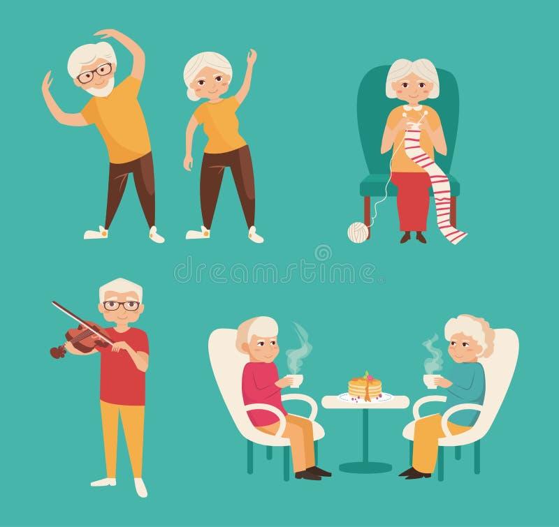 Set with older people. stock illustration