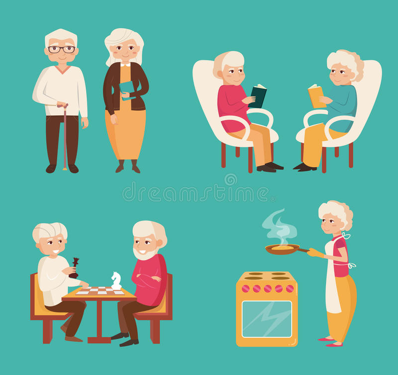 Set with older people. vector illustration
