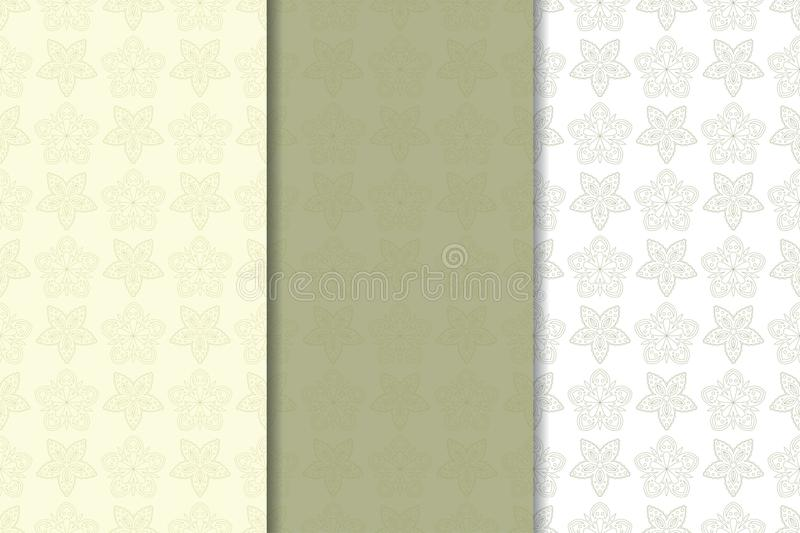 Set of olive green floral backgrounds. Seamless patterns stock illustration