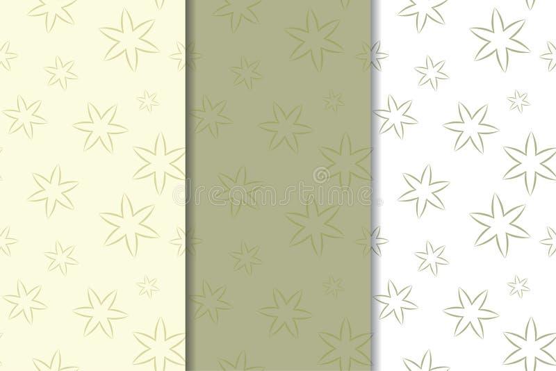 Set of olive green floral backgrounds. Seamless patterns vector illustration