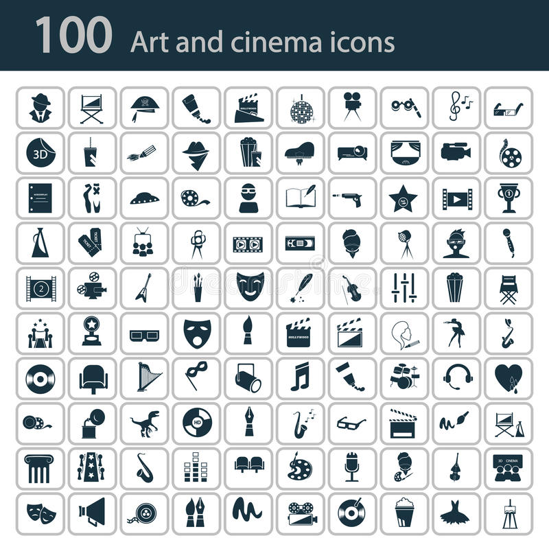 Set of one hundred art and cinema icons royalty free stock photo