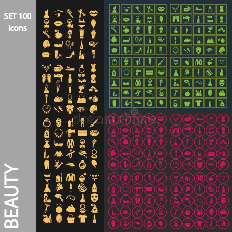 Set of one hundred beauty icons stock illustration