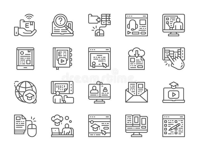 Set Online edukacji linii ikony Dyplom, biblioteka, Webinar, Podcast i więcej, ilustracja wektor