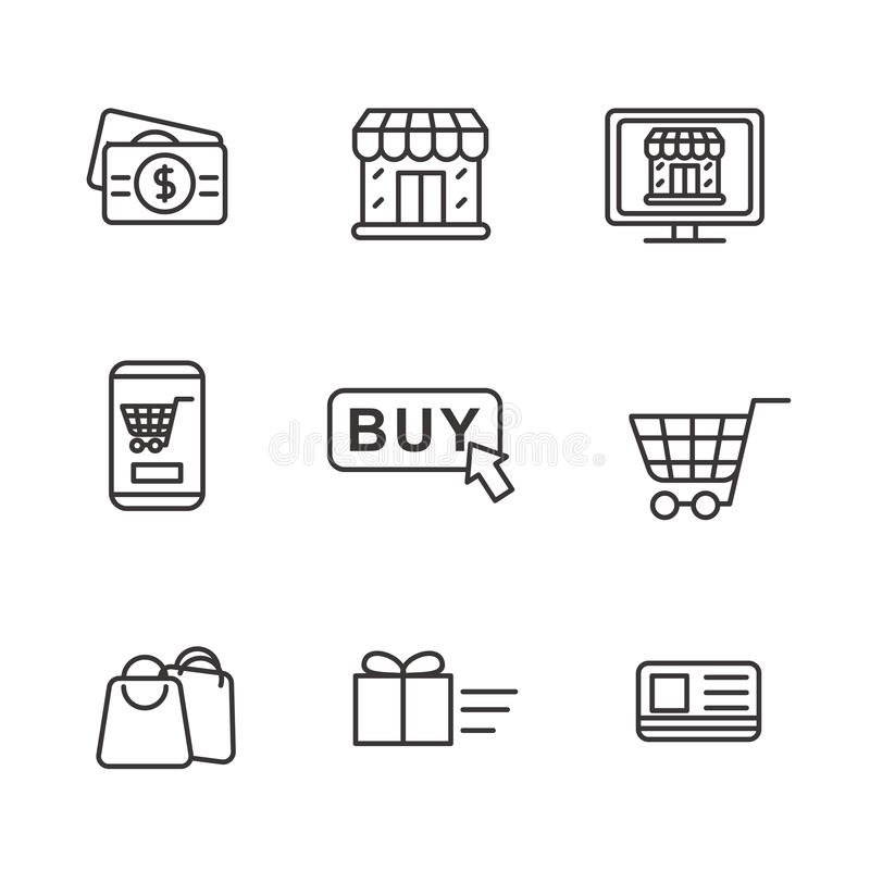 Set of online shopping related icon with simple line design stock illustration