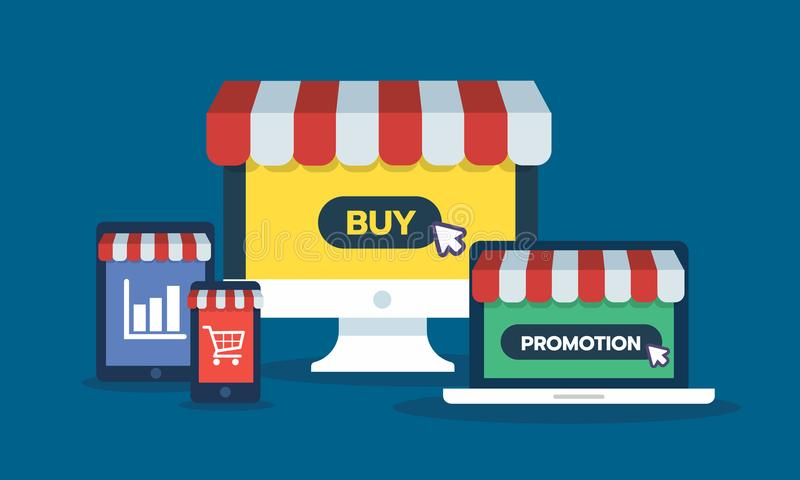 Set of online storefront, computer, Laptop, smartphone, tablet device with promotion, buy button graph and cart icon stock illustration