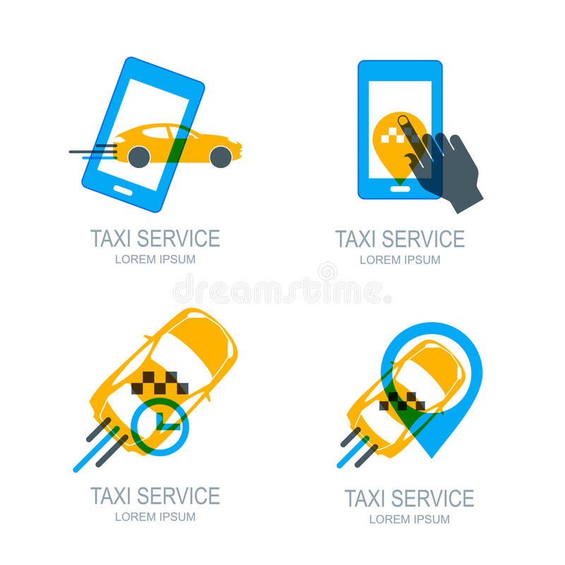 Set of online taxi service logo, icons and symbol. Human hand with mobile phone. royalty free illustration