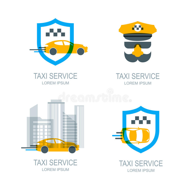 Set of online taxi service logo, icons and symbol. vector illustration