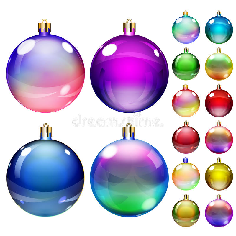 Set of opaque colored Christmas balls stock illustration