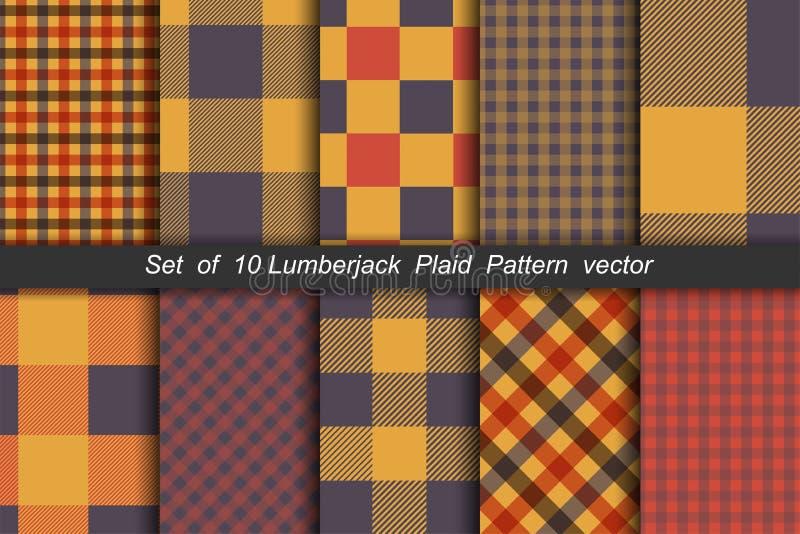 Set 10 opcja tartanu bezszwowych deseniowych tło Jesień koloru panelu szkocka krata ilustracja wektor