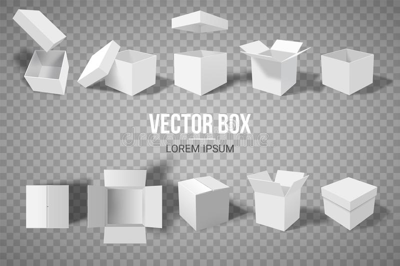 A set of open and closed boxes in different angles. Isometry in perspective. White cardboard box. Vector illustration.  stock illustration