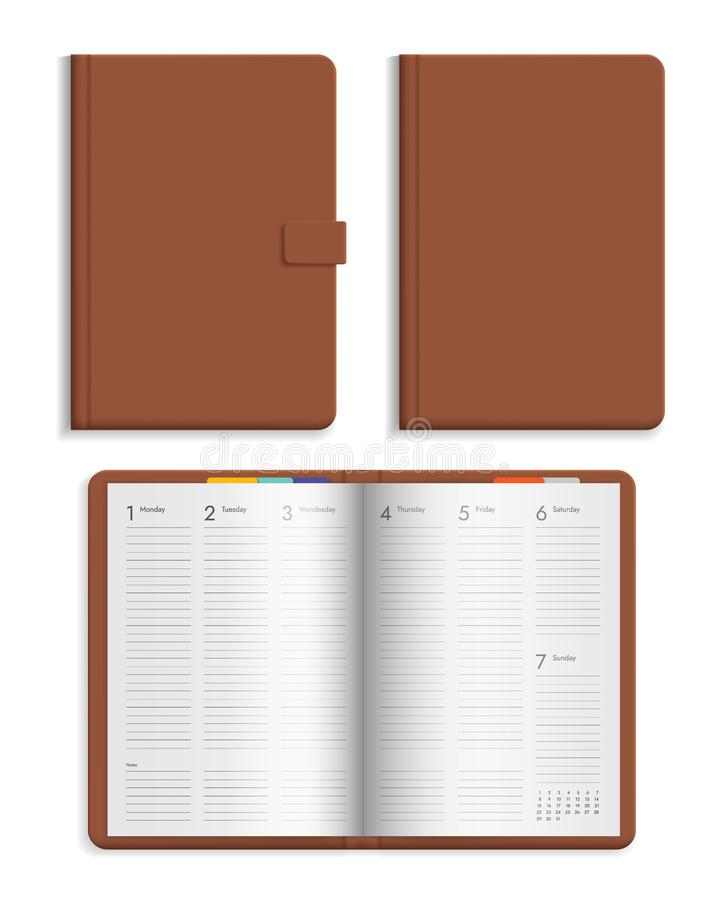 Set of open and closed leather diary with calendar pages. Hard cover brown color isolated on white background, vector. Set of open and closed leather diary with vector illustration