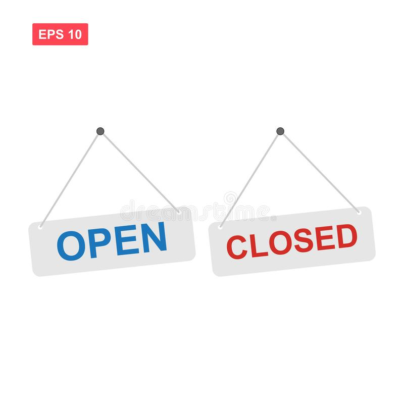 Set of open and closed sign vector isolated vector illustration