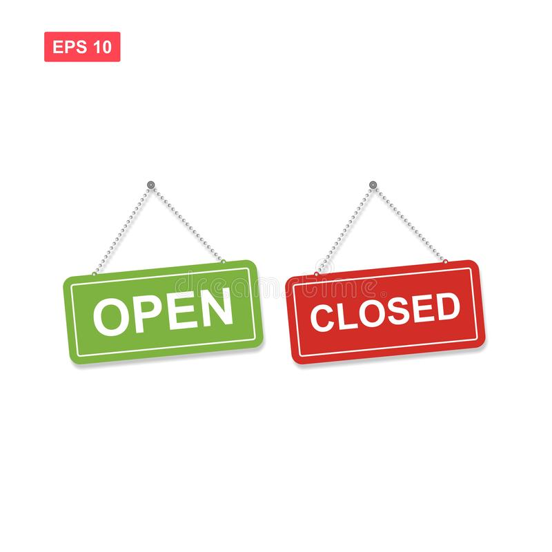 Set of open and closed vector sign with red and green colors iso stock illustration