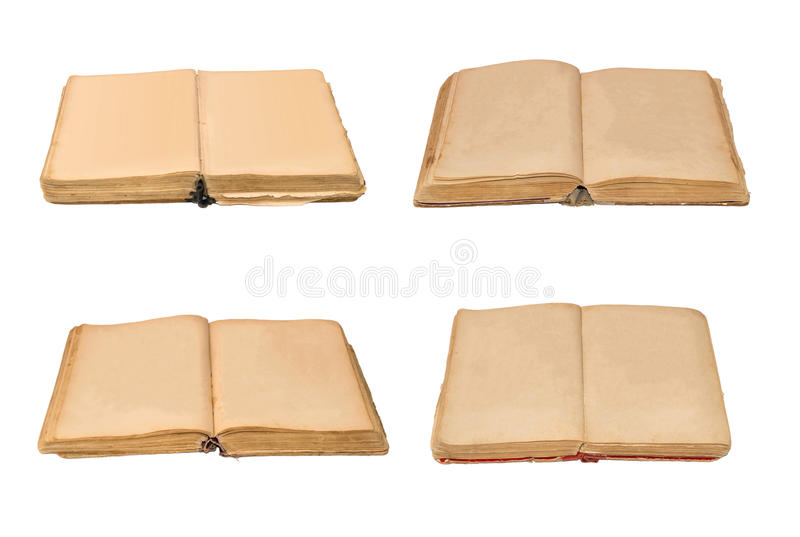 Set of open old books isolated, vintage book with blank yellow stained pages. Set of open old books isolated, vintage book with blank yellow stained pages stock photo