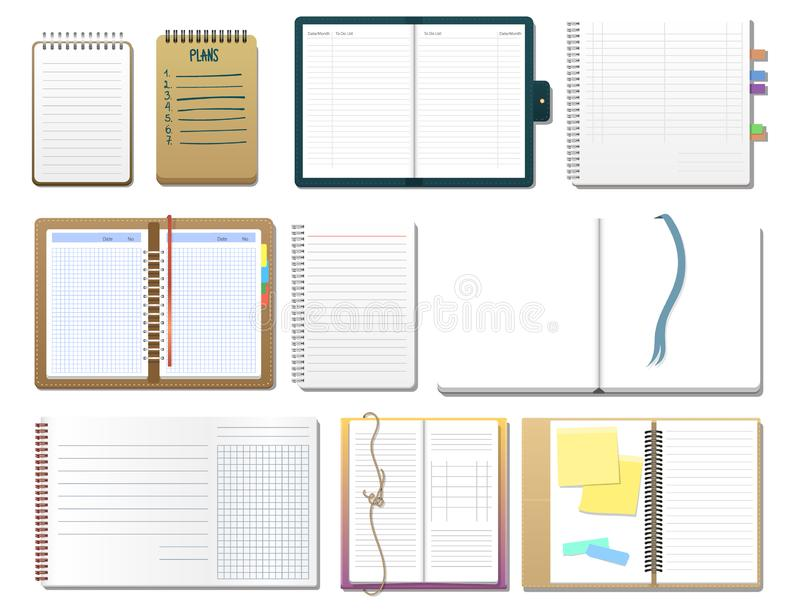 Set of open realistic notebooks with pages diary office sheet template booklet and blank paper education copybook. Organizer vector illustration. Memo hardcover stock illustration