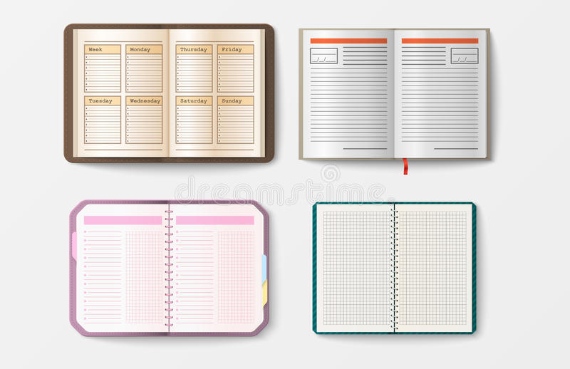 Set of open realistic notebooks with pages diary office sheet download set of open realistic notebooks with pages diary office sheet template booklet and blank paper pronofoot35fo Choice Image
