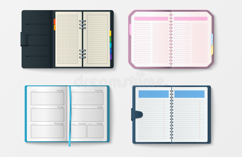 Set of open realistic notebooks with pages diary office sheet template booklet and blank paper education copybook. Organizer vector illustration. Memo hardcover royalty free illustration
