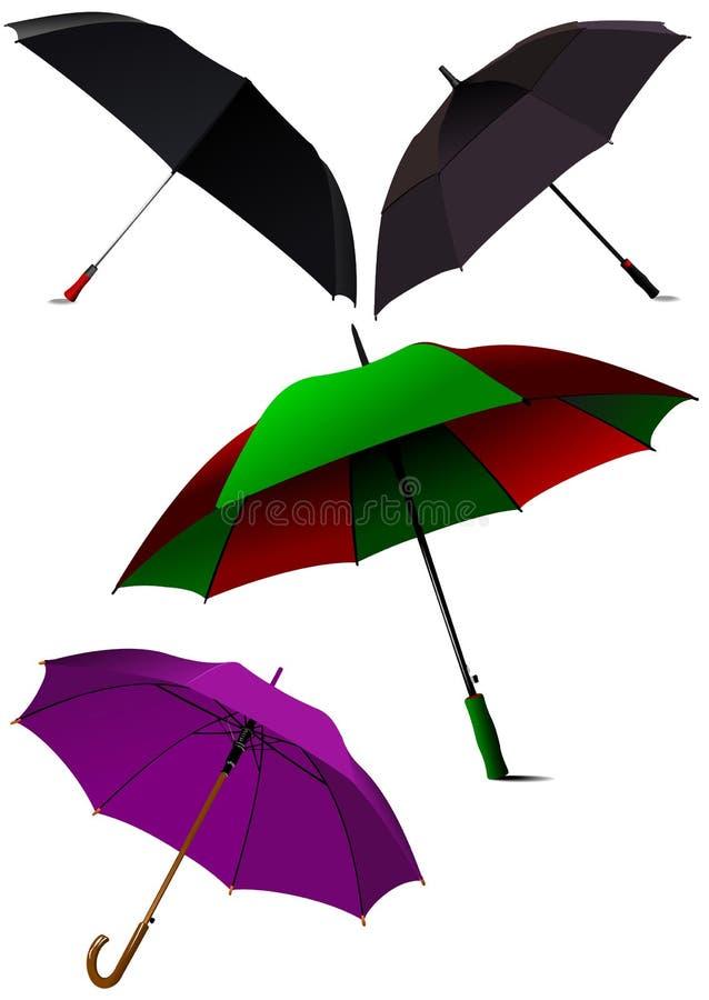 Set of Opened  umbrellas. Vector. Illustration stock illustration