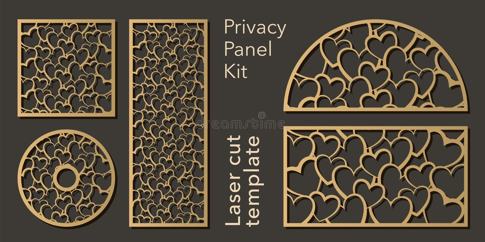 Set of openwork panels for laser cutting. Carved decorative element for interior design, room partition, screen, privacy. Panel vector illustration