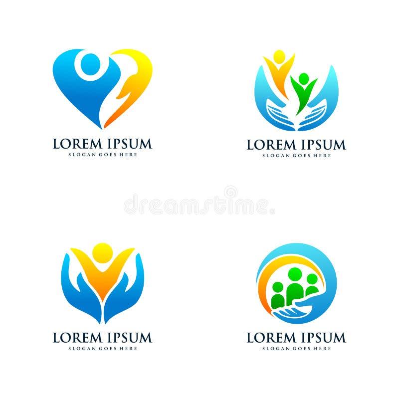 Set opieka dzieciak?w logo projekta szablon royalty ilustracja