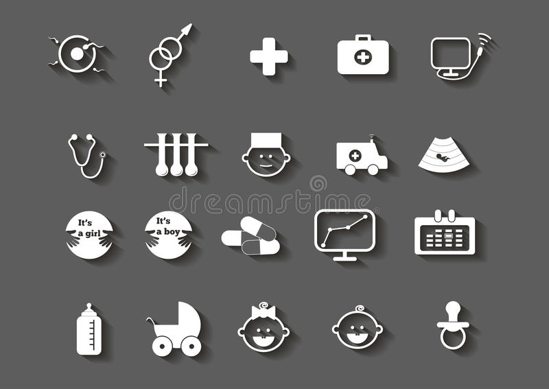 Set opieki zdrowotnej kobiety brzemienności medyczne ikony royalty ilustracja