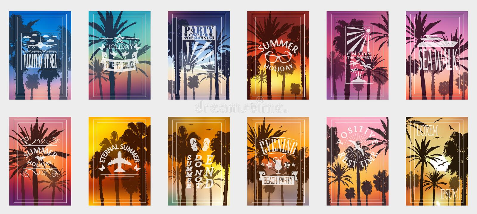 A set of 12 options for posters with palm trees. For all occasions to relax. For advertising, sales, discounts, super offers. stock photos