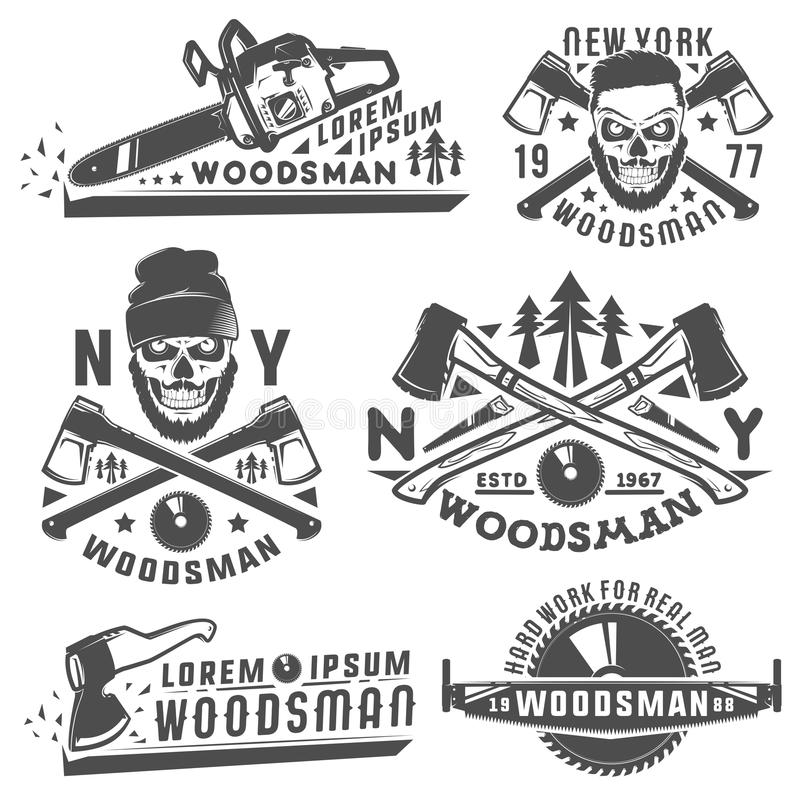 Free Set Or Woodman For T Shirt And Tattoo Lumberjack Vinage Style,emblems And Logo. Royalty Free Stock Photo - 77842715