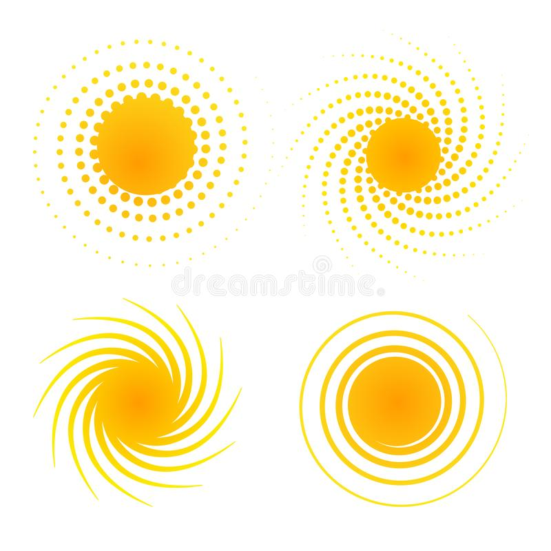 Set orange abstract banner of dots halftone Design element in the sun form with dotted rays in retro style Decorative isolated. Set orange abstract banner of vector illustration