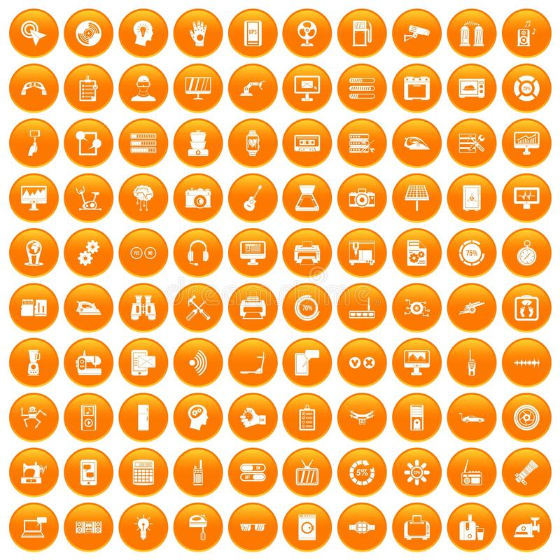 100 set orange vector illustration