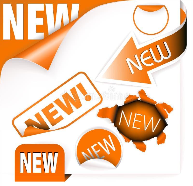 Set orange Elemente für neue Felder vektor abbildung