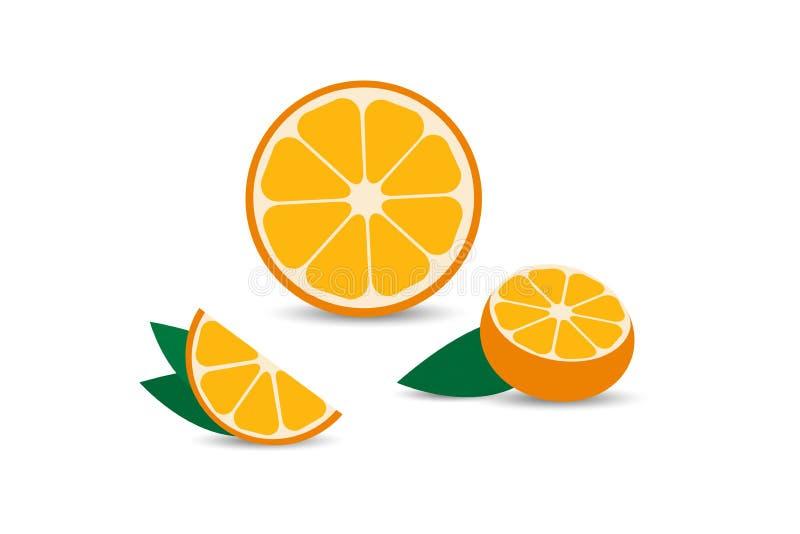 Set of Orange in flat design with shadow. Orange slice, half cut orange and front view of cut ripe orange. Vector illustration royalty free illustration