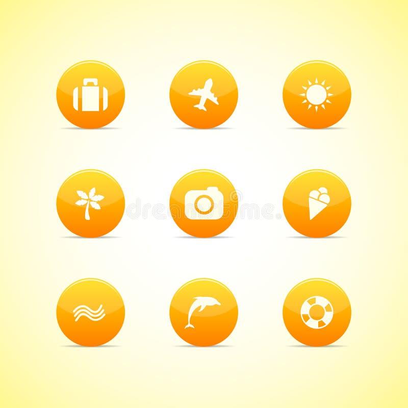 Set orange Ikonen: Feiertagsthema lizenzfreie abbildung