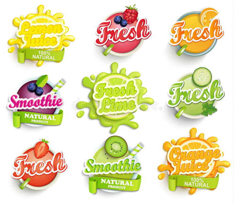 Set of orange, lemon, lime smoothie and fresh labels splash. stock illustration