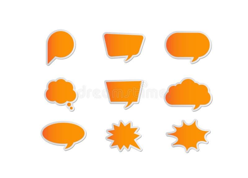 Set of orange speech bubbles stock illustration