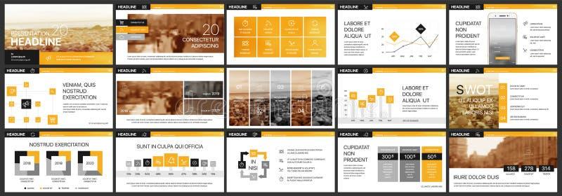 Orange presentation backgrounds for internet or business marketing stock illustration