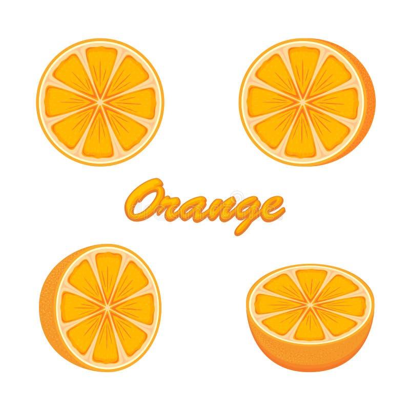 Set of oranges. Set of fresh ripe oranges on white background, illustration royalty free illustration