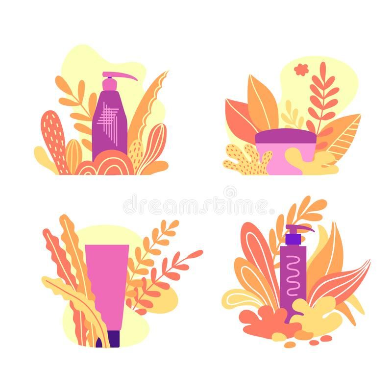 Set of organic cosmetics, composition with container for cream with natural ingredients. royalty free illustration