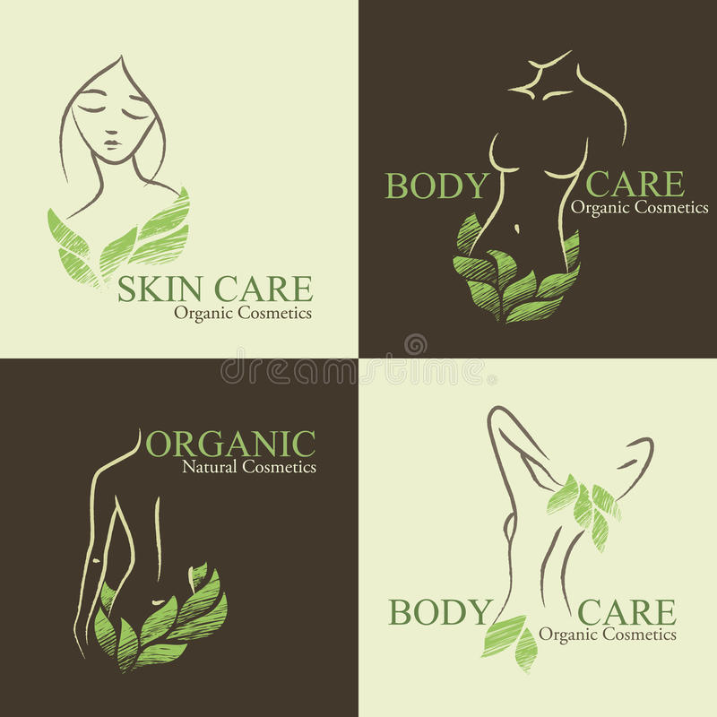Set of 4 Organic Cosmetics Design elements with contoured women. Set of four natural / organic cosmetics emblems. Handdrawn ecodesign with contoured woman's royalty free illustration