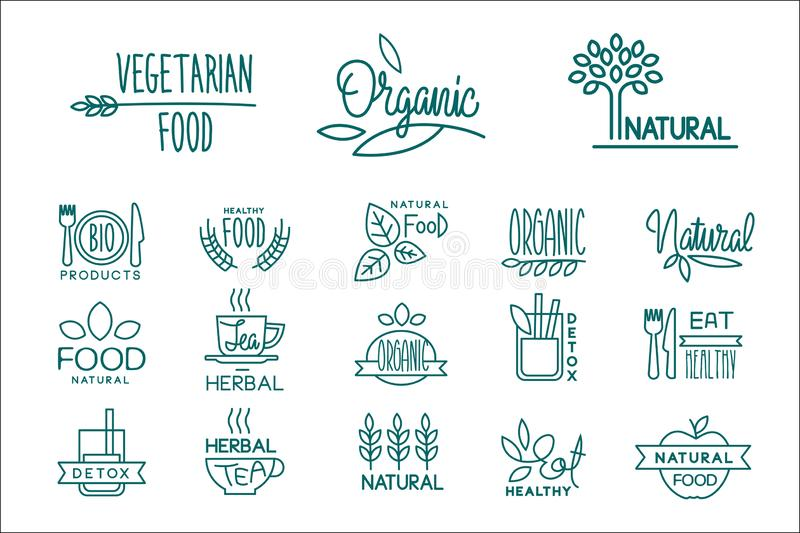Set of organic food and drinks logos. Healthy vegetarian nutrition. Emblems for cafe, restaurant and natural products royalty free illustration