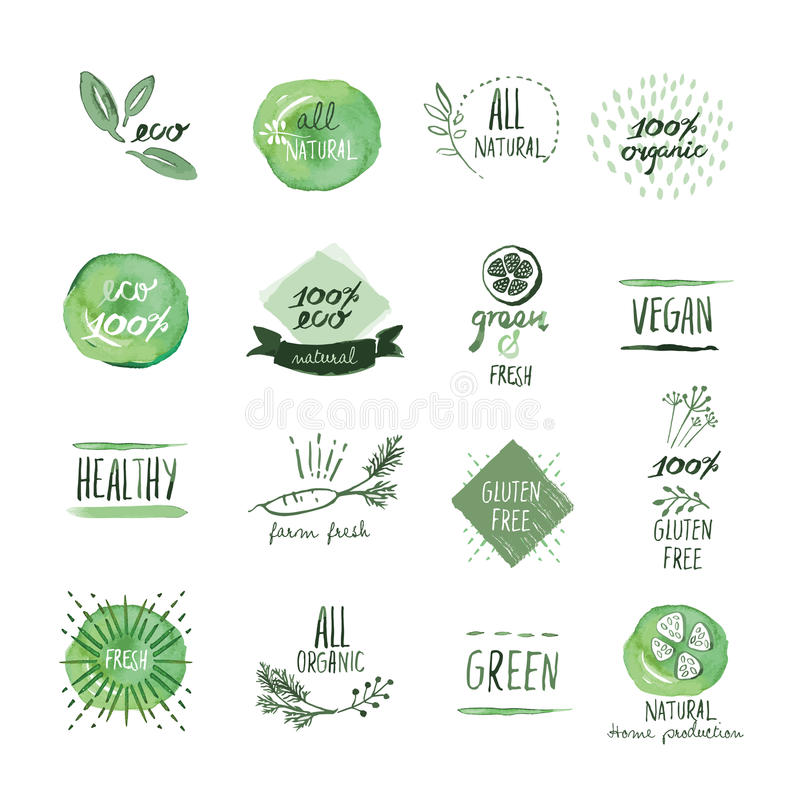 Set of organic food hand drawn watercolor labels and elements stock illustration