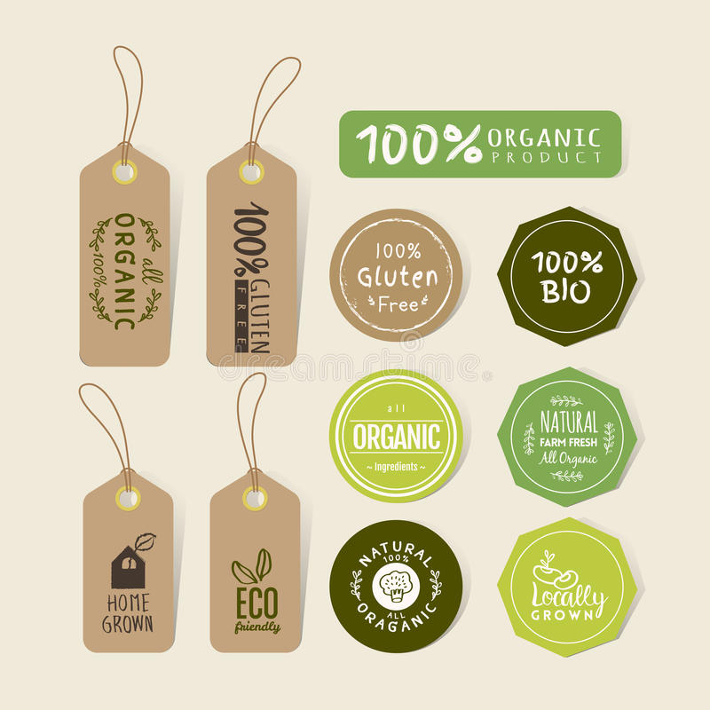 Download set of organic food tag and label sticker design stock vector illustration of gluten