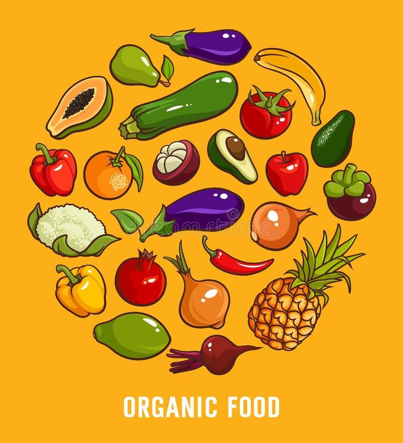 Set of organic food vector illustration