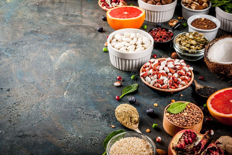 Set of organic healthy diet food, superfoods royalty free stock photos