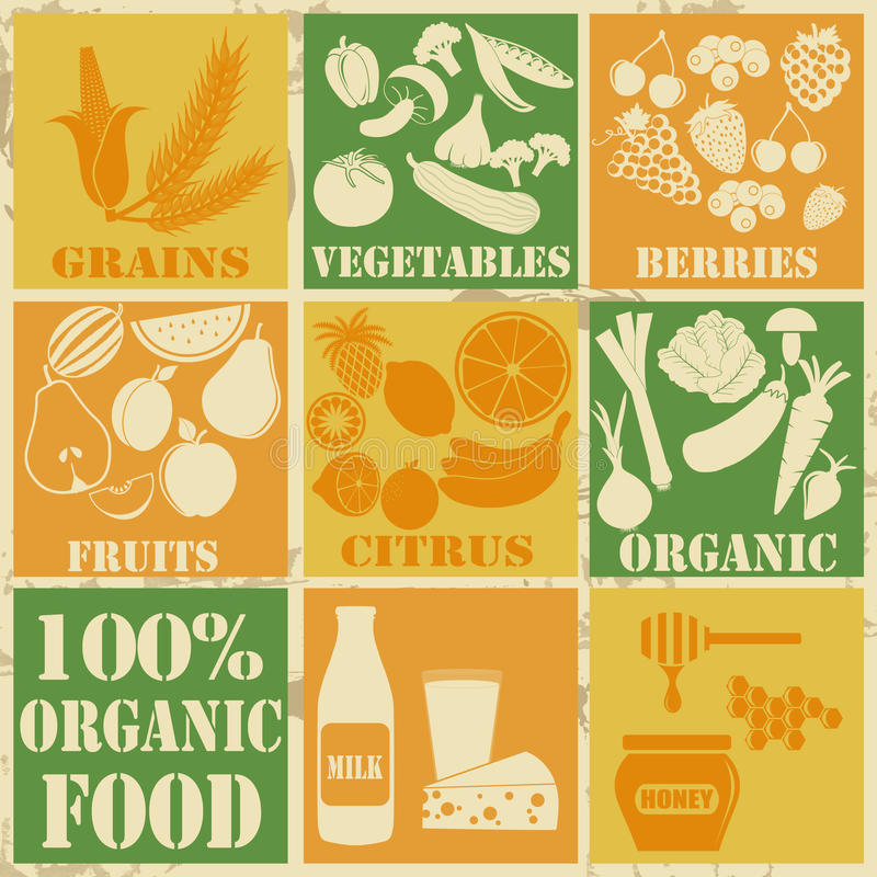 Set of 100% organic and healthy food icons royalty free illustration